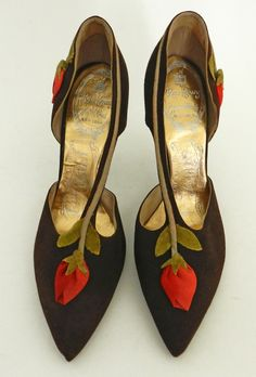 Brown suede shoes with silk roesbud accents, c. late 1950s or early 1960s