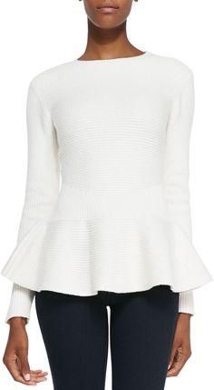 Ted Baker London Edenia Ottoman Knit Peplum Sweater, Natural on shopstyle.com