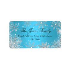 Blue Winter Wonderland Christmas Address Labels