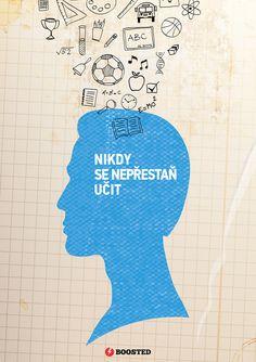 Motivační plakát Nepřestaň se učit (Česky)