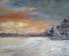 Wintersun in snow landscapd (oils)