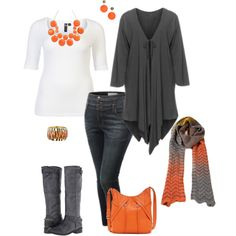 Pumpkin time- plus size, created by gchamama on Polyvore.  I'll swap orange for red,  pink or turquoise