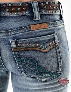 Shop Online Now for these Amazing Vintage Jeans.  Copper & Turquoise studs and faux brown leather. Premium Denim with 2 % spandex with the Unbelievable Fit
