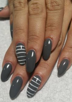 ANC Sambuca Color with stripes. #lineart #amazingnailconcept #gelpolishdesign #nailart