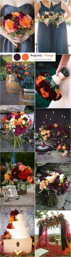 burgundy and orange fall wedding color ideas / http://www.deerpearlflowers.com/top-8-burgundy-wedding-color-palettes-youll-love/2/ #BurgundyWeddingIdeas