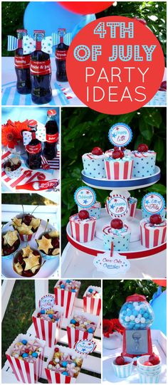 This 4th of July sweet station is perfect for after a BBQ! See more party ideas at CatchMyParty.com!