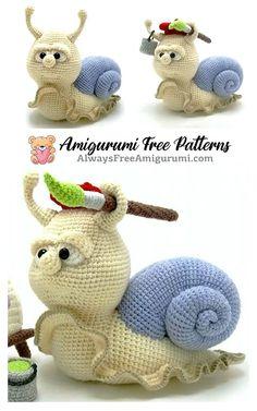 Crochet Snail, Crochet Bird Patterns, Doll Patterns Free, Crochet Amigurumi Free Patterns, Crochet Animals, Crochet Toys, Free Crochet, Crochet Wreath, Stuffed Animal Patterns