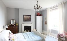 Love this soft gray wall color