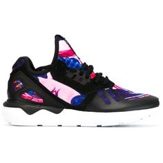 Adidas Originals Tubular Runner Sneakers ($67) ❤ liked on Polyvore featuring shoes, sneakers, adidas, kicks, black, black lace up shoes, floral print shoes, multi colored shoes, kohl shoes and multi color shoes