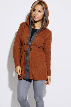 #1015store.com #fashion #style rust/dark gray double hooded knit boyfriend zip up sweater cardigan-$10.00