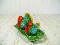 Antique Turkey Salt & Pepper 3 Piece Ceramic Set - Vintage Hand Painted Red Greens Blues Pottery Pieces - Thanksgiving Celebration Table Set $42.00 by DivineOrders