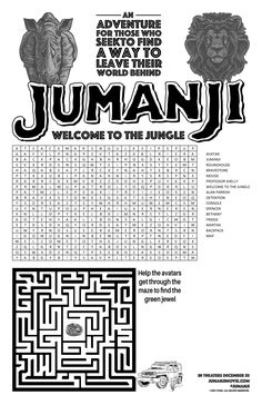 JUMANJI Mini poster + Activity Sheet Jungle Party, Jungle Safari, Activity Sheets, Activity Games, Babysitting Games, Jumanji 1995, Founders Day, Welcome To The Jungle, Jungles