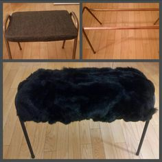 DYI your own fur bench using copper piping, fur blanket and black spray paint! Black Spray Paint, Style Box, Fur Blanket, Shag Rug, Dyi, Bench, Copper, Rugs, House Styles