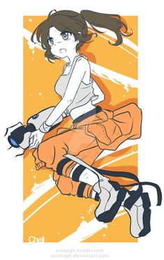 Chell Doodle by SandraGH on DeviantArt Looks Kawaii, Portal Art, Valve Games, Character Art, Character Design, Aperture Science, You Monster, Drawing Games, Fandoms