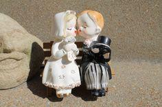 Vintage Bride and Groom Wedding Cake Topper by AVintageWanderer, $45.00