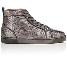 Christian Louboutin Men's Louis Orlato Flat Python Sneakers (7,480 SAR) ❤ liked on Polyvore featuring men's fashion, men's shoes, men's sneakers, silver, mens high top sneakers, mens high top shoes, mens metallic gold sneakers, mens cap toe shoes and mens metallic shoes