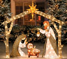 Outdoor Nativity Sets really add a lot to your outside Christmas decorations. Outdoor nativity scenes affirm your faith and help to remind all who see them of the reason for the season. Outside Christmas Decorations, Christmas Yard Art, Decorating With Christmas Lights, Christmas Holidays, Christmas Crafts, Christmas Ornaments, Xmas, Outdoor Decorations, Garden Decorations