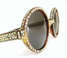 Vintage 60s Round Rhinestone Sunglasses Frame - look at that detail!!