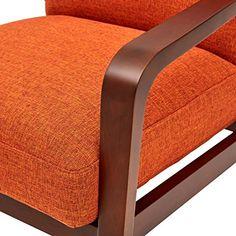 Amazon.com: Rivet Huxley Mid-Century Accent Chair, Burnt Orange: Kitchen & Dining