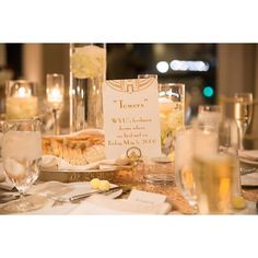 I LOVE when the decor and decorations are personal. These two had all the places they hung out/met/liked as table names. So cute! #reception  #weddingtable