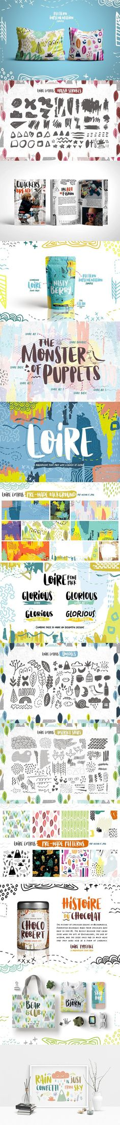 Loire Font Pack is 4 bold handdrawn font packed with a bunch of abstract shape, brush stroke, doodles and pre-made patterns and background. Brush Stroke Vector, Font Packs, Cute Fonts, Typographic Design, Abstract Shapes, Stationery Design, Lowercase A, Packaging Design