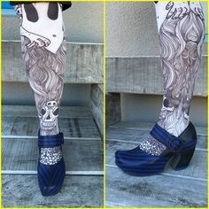 Wow what a combo! John Fluevog Shoes, Clogs, Tights, Fan, Fashion, Artists, Navy Tights, Moda, La Mode