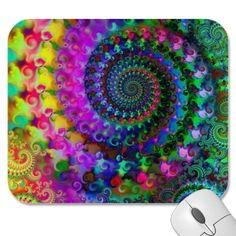 Hippy Rainbow Fractal Pattern Mouse Pad $12.35