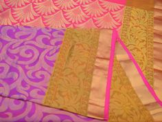 A soft silk saree with a floral zari self-design in the body and beat with a tissue zari border woven in pink. The paloo is given floral zari motives.  Price is Rs 6210.