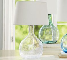 Eva Colored Glass Table Lamp #potterybarn. LOVE!!!!!! for the living room or two for the bedroom