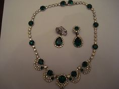 Vintage Kramer Emerald and Rhinestone Necklace and Earrings Signed | eBay