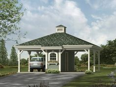 This striking carport boasts a stylish hip roof with louvered cupola, decorative… Diy Carport, 2 Car Carport, Double Carport, Carport With Storage, Carport Plans, Built In Storage, Shed Plans, Garage Storage, Carport Ideas