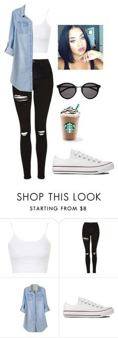 """Untitled #234"" by cuteskyiscute on Polyvore featuring Topshop, Retrò, Converse and Yves Saint Laurent"