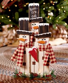 Decorate your home with the wooden plank look of the Lighted Country Holiday Characters. Each trio of popular figures includes facial features and 8 white lights along the base. Lighted Country Christmas Holiday Characters Use Inside Or Out Santas Or Snow Christmas Wood Crafts, Pallet Christmas, Farmhouse Christmas Decor, Simple Christmas, Holiday Crafts, Christmas Snowman, Christmas Christmas, Christmas Presents, Winter Wood Crafts