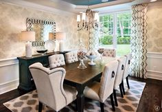 Traditional Dining Room with Casa de Colour  3/4 x 3-1/4 Chocolate Birch, Graham & Brown Damask Ivory Shimmer, Wainscoting
