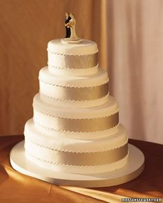 50th Wedding Anniversary Sheet Cakes | ... encircles each sleek, oval tier of this traditional wedding cake