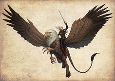 Merisiel riding a griffon by DevBurmak.deviantart.com on @deviantART
