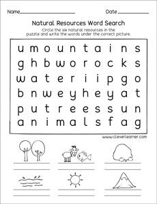 Natural Resources And Man Made Things Worksheets For Preschools Natural Resources Activities Natural Resources Teaching Kids