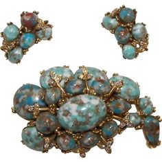 Delightful signed HAR brooch and clip Earring Set  Circa 1960..