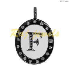 Vintage Inspire 925 Silver Diamond Initial Letter F Enamel Charm Pendant Jewelry Silver Diamonds, Diamond Studs, Pendant Jewelry, Gemstone Jewelry, Sterling Silver Jewelry, 925 Silver, Initial Pendant, Initial Charm, Wholesale Jewelry
