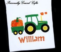 Pumpkin Wagon Tractor Custom Halloween Thanksgiving Fall Custom Embroidered Personalized Monogrammed Applique Shirt or Bodysuit for Boys or Girls by Personally Graced Gifts at www.PersonallyGraced.com