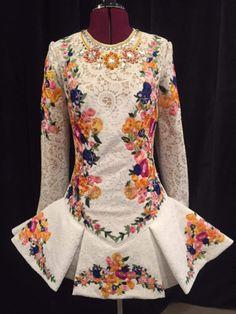 White lace Irish dance solo dress with floral accents Irish Step Dancing, Irish Dance, Celtic Dress, Dance Fashion, Embellished Dress, Costume Dress, Dance Dresses, Designer Dresses, Lino Prints