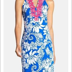 "Lilly pulitzer Augusta shift dress quahog Chowdah Gorgeous pattern ""deep sea blue quahog Chowdah"" and beautiful dress. Very flattering! Too small for me now but I got so many compliments when I wore this! I have only dry cleaned this dress, in perfect condition size 2 ✋NO trades✋ please no Lowballing Lilly Pulitzer Dresses Mini"