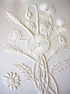 White Embroidery On Paper