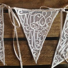White lace letter bunting flags stitched with Mr & Mrs - by Emma Bunting Wedding Bunting, Wedding Decorations, Country Style Wedding, Spanish Wedding, Bunting Flags, Hessian, Gold Sequins, Mr Mrs, Cotton Lace