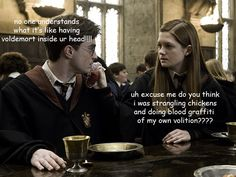 He totally forgot Ginny was possessed by Voldemort, and said so to her face.
