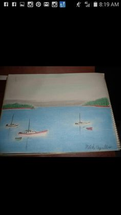 Sailboats on the lake Charcoal Drawing
