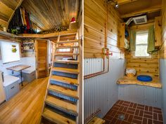 Loft Ladder and Bathroom - Bookworm by MitchCraft Tiny Homes WET room +++