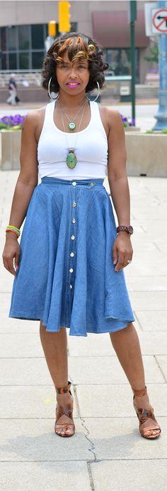 Denim Skirt, Summer Outfit Idea, White Tank