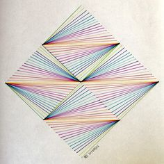 September 01 2016 at from acidholic Geometry Pattern, Geometry Art, Pattern Art, Paper Embroidery, Embroidery Patterns, Arte Linear, Nail String Art, Triangle Art, String Art Patterns