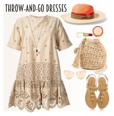 """Easy Outfitting: Throw-and-Go"" by ellie366 ❤ liked on Polyvore featuring Hat Attack, Kate Spade, Sensi Studio, Sea, New York, Tom Ford, Quay, nude, embroidered, 60secondstyle and easydresses"